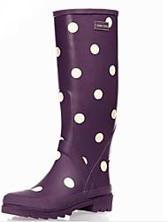 baratos -Mulheres Sapatos Látex Outono Botas de Chuva Botas Sem Salto Botas Cano Alto Roxo / Fúcsia / Vermelho