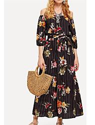 economico -Per donna Swing Vestito Fantasia floreale Maxi