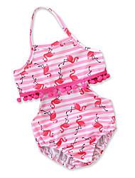cheap -Toddler Girls' Boho Beach Striped / Print / Color Block Ruffle / Pleated / Print Sleeveless Cotton / Rayon Swimwear