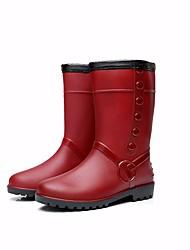 Недорогие -Жен. Обувь КожаПВХ Зима Резиновые сапоги Ботинки На плоской подошве Сапоги до середины икры Вино