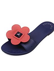 povoljno -Žene Cipele PU Ljeto Udobne cipele Papuče i japanke Niska potpetica za Vanjski Crvena / Pink / Badem