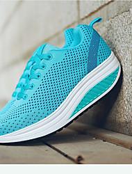 cheap -Women's Shoes Synthetic Microfiber PU Spring & Summer Crib Shoes Sneakers Tennis Shoes / Walking Shoes Wedge Heel Round Toe Fuchsia /