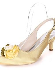 Недорогие -Жен. Обувь Сатин Весна лето Туфли лодочки Свадебная обувь На каблуке-рюмочке Заостренный носок Цветы из сатина Темно-синий / Пурпурный /