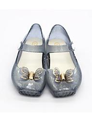 baratos -Para Meninas Sapatos PVC Primavera Plástico Sandálias Laço para Bébé Preto / Prateado / Rosa claro
