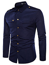baratos -Homens Camisa Social Vintage Sólido