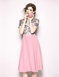 baratos -Mulheres Vintage / Moda de Rua Evasê / balanço Vestido - Renda / Franzido / Franjas, Floral / Geométrica Médio