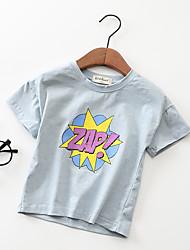 preiswerte -Kinder Mädchen Schwarz & Weiß Solide Geometrisch Kurzarm T-Shirt