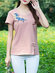 baratos -t-shirt de linho de senhora - gola redonda floral