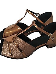 povoljno -Žene Cipele za latino plesove PU Štikle Unutrašnji Kockasta potpetica Moguće personalizirati Plesne cipele Bronza