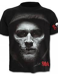 baratos -Homens Camiseta Caveira Moda de Rua Estampado, Retrato Letra Caveiras