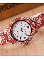 Недорогие -Жен. Наручные часы Китайский Повседневные часы Plastic Группа Цветы / Мода Красный