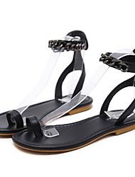 Недорогие -Жен. Обувь Искусственное волокно Лето Удобная обувь Сандалии На плоской подошве Черный / Коричневый