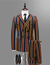 cheap -Men's Party Daily Suits-Striped Color Block Notch Lapel / Please choose one size larger according to your normal size. / Long Sleeve