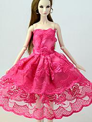 お買い得  -ドレス ドレス ために バービー人形 フクシャ リネン / コットンのブレンド / リネン / ポリエステル混 ドレス ために 女の子の 人形玩具