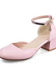 baratos -Mulheres Sapatos Couro Ecológico Primavera Verão Tira no Tornozelo Saltos Caminhada Salto Robusto Ponta Redonda Pedrarias para Escritório
