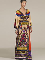 abordables -Femme Bohème Manche Chauve-souris Balançoire Robe - Ruché Mosaïque, Fleur Géométrique Maxi