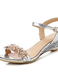 preiswerte -Damen Schuhe Glanz Frühling Sommer Komfort Sandalen Keilabsatz Offene Spitze Gold / Silber / Party & Festivität
