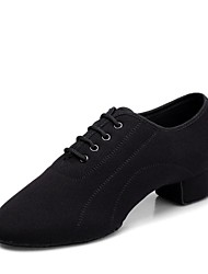 cheap -Boys' Latin Shoes Oxford Heel Low Heel Customizable Dance Shoes Black / Indoor / Leather