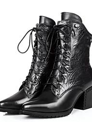 baratos -Mulheres Sapatos Couro Inverno Coturnos Botas Caminhada Salto Robusto Dedo Apontado Botas Cano Médio Preto / Marron / Casamento