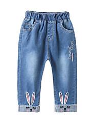 preiswerte -Kinder Mädchen Aktiv Druck Bestickt Baumwolle Jeans