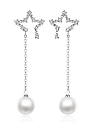 cheap -Drop Earrings - Pearl, Imitation Pearl Star Sweet, Fashion Silver For Daily / Date