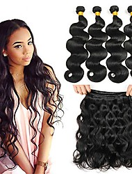 cheap -Peruvian Hair / Body Wave Body Wave Virgin Human Hair Natural Color Hair Weaves / Extension / Human Hair Extensions 4 Bundles Human Hair Weaves Soft / Hot Sale / 100% Virgin Natural Black Human Hair