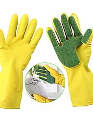 Недорогие -1 пара мытье чистящие перчатки кухонная посуда губка пальцы резиновая бытовая