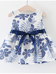 cheap -Baby Girls' Basic Holiday Floral Bow / Lace up Sleeveless Knee-length Cotton Dress / Toddler