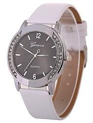 cheap -Women's Wrist Watch Quartz Casual Watch Imitation Diamond Large Dial PU Band Analog Vintage Fashion Black / White / Brown - LightBlue Fuchsia Brown One Year Battery Life
