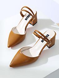 baratos -Mulheres Sapatos Paetês Couro Ecológico Verão Outono Chanel Conforto Tamancos e Mules Caminhada Salto Robusto Dedo Fechado Dedo Apontado