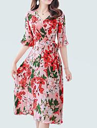 baratos -Mulheres Moda de Rua / Sofisticado Manga Alargamento Bainha / balanço Vestido - Estampado, Floral Médio