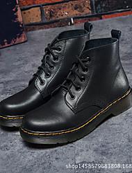 Недорогие -Жен. Обувь Кожа Наступила зима Армейские ботинки Ботинки На толстом каблуке Ботинки Черный / Винный