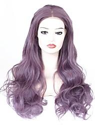 Недорогие -Синтетические кружевные передние парики Волнистый Фиолетовый Средняя часть Фиолетовый 150% Человека Плотность волос Искусственные волосы Жен. Жаропрочная / Женский / синтетический Фиолетовый Парик
