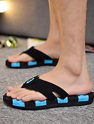 baratos -Homens sapatos Linho Verão Conforto Chinelos e flip-flops Amarelo / Azul