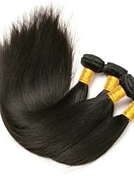 baratos -Cabelo Peruviano Liso Cabelo Bundle / Extensões de Cabelo Natural 4 pacotes 8-28 polegada Tramas de cabelo humano Melhor qualidade / Venda imperdível Preto Natural Extensões de cabelo humano Mulheres