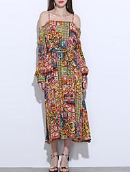 cheap -Women's Vintage Swing Dress - Color Block Print