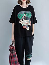 baratos -Mulheres Camiseta Retrato Algodão / Linho