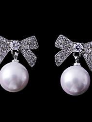abordables -Femme Zircon Boucles d'oreille goujon - Nœud Mode, Elégant Blanc Pour Mariage / Rendez-vous