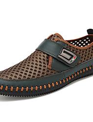 baratos -Homens sapatos Tule Primavera / Outono Conforto Mocassins e Slip-Ons Cinzento / Castanho Claro / Verde Escuro