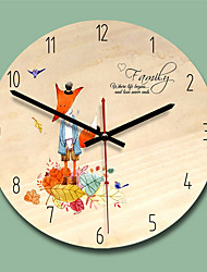 cheap -Designed in China / Ultra Slim Wood Round Indoor,AA Batteries Powered Wall Clock