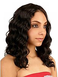 Недорогие -Remy Парик Бразильские волосы Волнистый Стрижка боб 130% плотность С отбеленными узлами Необработанные Природные волосы Средняя часть