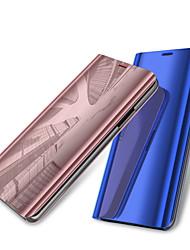 baratos -Capinha Para Samsung Galaxy S9 Plus / S9 Com Suporte / Galvanizado / Espelho Capa Proteção Completa Sólido Rígida PU Leather para S9 / S9 Plus / S8 Plus