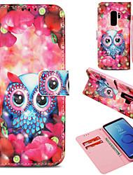 baratos -Capinha Para Samsung Galaxy S9 Plus / S9 Carteira / Porta-Cartão / Com Suporte Capa Proteção Completa Corujas Rígida PU Leather para S9 / S9 Plus / S8 Plus