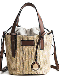 cheap -Women's Bags Polyester / Canvas Tote Zipper / Tassel Black / Brown