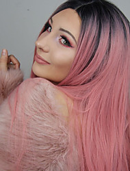 cheap -Synthetic Lace Front Wig Straight Middle Part 150% Density Synthetic Hair Heat Resistant / Party / Women Pink Wig Women's Long Lace Front Wig / Yes