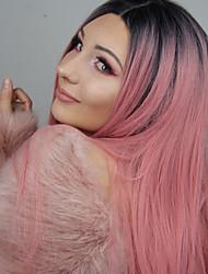 Недорогие -Синтетические кружевные передние парики Прямой Розовый Средняя часть 150% Человека Плотность волос Искусственные волосы Жаропрочная / Для вечеринок / Женский Розовый Парик Жен. Длинные Лента спереди