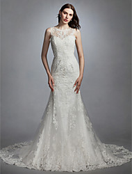 cheap -Mermaid / Trumpet Jewel Neck Chapel Train Lace / Tulle Made-To-Measure Wedding Dresses with Appliques by LAN TING BRIDE® / See-Through