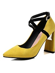 cheap -Women's Shoes Fleece Spring & Summer Comfort Heels Chunky Heel Pointed Toe for Wedding / Party & Evening Yellow / Red / Pink