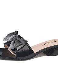cheap -Women's Shoes PU Summer Comfort Slippers & Flip-Flops Flat Heel Round Toe Bowknot for Outdoor Black / Beige / Almond