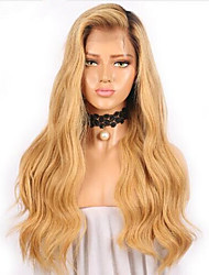cheap -Remy Human Hair / Human Hair Lace Front Wig Wig Brazilian Hair / Body Wave Wavy 130% Density Women's Long Human Hair Lace Wig